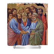 The Arrival Of The Apostles To The Virgin Fragment 1311 Shower Curtain