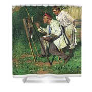 The Artist And The Apprentice  Shower Curtain
