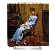 The Artist Wife And His Setter Dog 1889 Shower Curtain