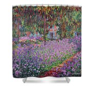 The Artists Garden At Giverny Shower Curtain by Claude Monet