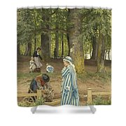 The Artist's Wife And Daughters In A Park At Heringsdorf Shower Curtain