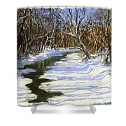 The Assabet River In Winter Shower Curtain