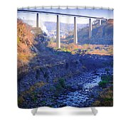 The Atenquique River Passes Under The Highway Bridge Shower Curtain