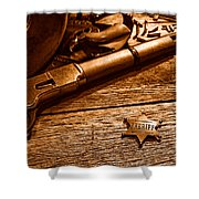The Badge - Sepia Shower Curtain