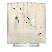 The Bahamas Watercolor Map Shower Curtain