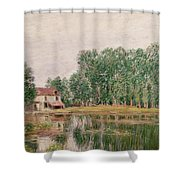 The Banks Of The Canal At Moret Sur Loing Shower Curtain