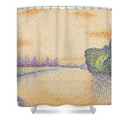 The Banks Of The Marne At Dawn 1888 Shower Curtain