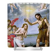 The Baptism Of Christ Shower Curtain by Ottavio Vannini