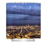 The Barcelona City Skyline, Spain Shower Curtain