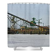 The Barge Waits At Aberdeen Shower Curtain