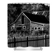 The Barn Bw  Shower Curtain