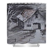 The Barn Country Pen And Ink Drawing Shower Curtain