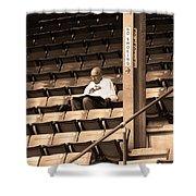 The Baseball Fan Sepia Shower Curtain