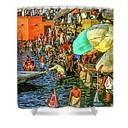 The Bathing Ghats Shower Curtain