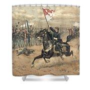 The Battle Of Cedar Creek Virginia Shower Curtain by Thure de Thulstrup