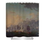 The Battle Of Louisbourg On The 21st July 1781 Shower Curtain