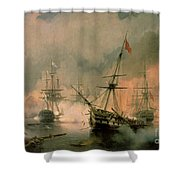The Battle Of Navarino Shower Curtain by Ivan Konstantinovich Aivazovsky