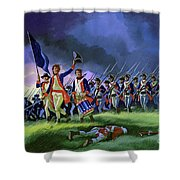 The Battle Of Saratoga, Showing A General Attack Led By Brigadier Arnold Shower Curtain