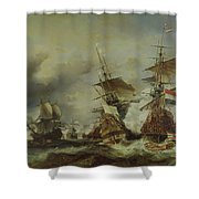 The Battle Of Texel Shower Curtain by Louis Eugene Gabriel Isabey