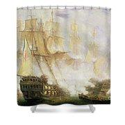 The Battle Of Trafalgar Shower Curtain by John Christian Schetky