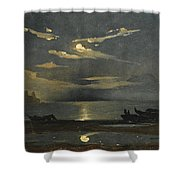 The Bay Of Naples By Moonlight With The Castel Dell'ovo Beyond Shower Curtain