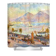 The Bay Of Naples With Vesuvius In The Background Shower Curtain