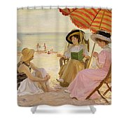 The Beach Shower Curtain by Alfred Victor Fournier