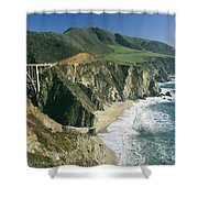 The Beach And Shoreline Along Highway 1 Shower Curtain