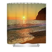 the beach and the Mediterranean sea in Montenegro in the summer at sunset Shower Curtain