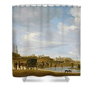 The Beach At Egmond An Zee Shower Curtain by Salomon van Ruysdael