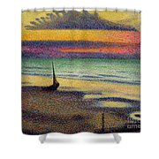 The Beach At Heist Shower Curtain by Georges Lemmen