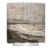 The Beach At Sainte Adresse Shower Curtain by Claude Monet