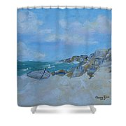 The Beached Boat Shower Curtain
