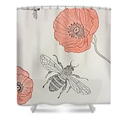 The Bee And Red Poppies  Shower Curtain