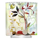 The Bee And The Ladybug Shower Curtain