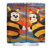The Bees, Joey And Lilly Shower Curtain