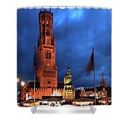 The Belfort Tower, Belfry, Bruges City, West Flanders Shower Curtain