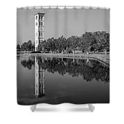The Bell Tower Reflections B W Furman University Greenville South Carolina Art Shower Curtain