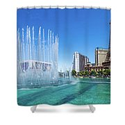 The Bellagio Fountains In Front Of The Eiffel Tower 2 To 1 Ratio Shower Curtain