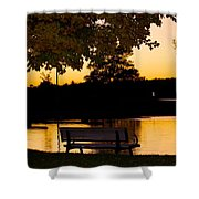 The Bench By The Lake Shower Curtain by Danielle Allard