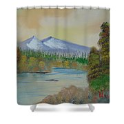 The Bend In The River Shower Curtain