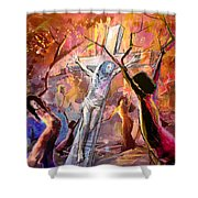 The Bible Crucifixion Shower Curtain