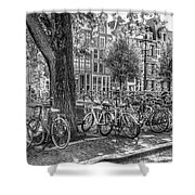 The Bicycles Of Amsterdam In Black And White Shower Curtain
