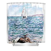 The Bird And The Sea Shower Curtain