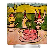 The Birthday Party Shower Curtain