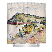 The Black Cape Pramousquier Bay Shower Curtain