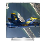 The Blue Angels Perform A Looping Shower Curtain by Stocktrek Images