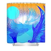 The Blue Avians Shower Curtain