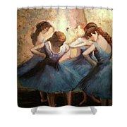 The Blue Ballerinas - A Edgar Degas Artwork Adaptation Shower Curtain by Rosario Piazza