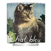 The Blue Cat Shower Curtain